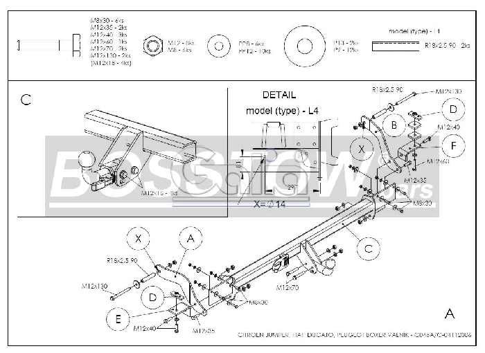 Anhängerkupplung Peugeot-Boxer Pritsche, 2 WD, Radstand: 3000mm, 3450mm, Baureihe 2006- Ausf.:  horizontal