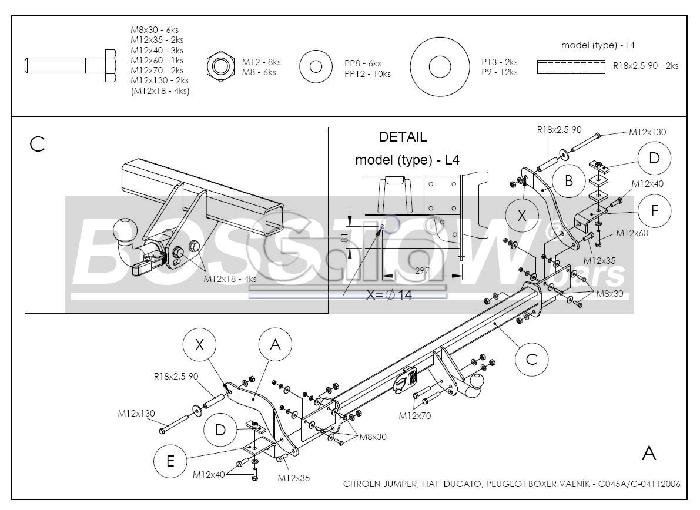 Anhängerkupplung Peugeot-Boxer Pritsche, 2 WD, Radstand: 4035mm, Baureihe 2006- Ausf.:  horizontal