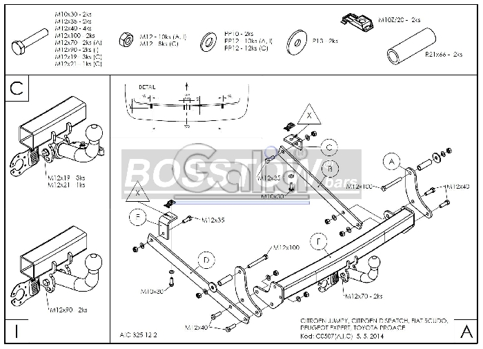 Anhängerkupplung Peugeot-Expert Kasten/ Bus/ Kombi, Baureihe 2007-2016 Ausf.:  horizontal