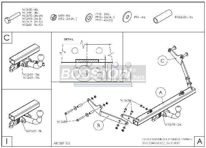 Anhängerkupplung Peugeot-Partner Kasten/ Bus/ Kombi, Baureihe 2000-2002 Ausf.:  horizontal