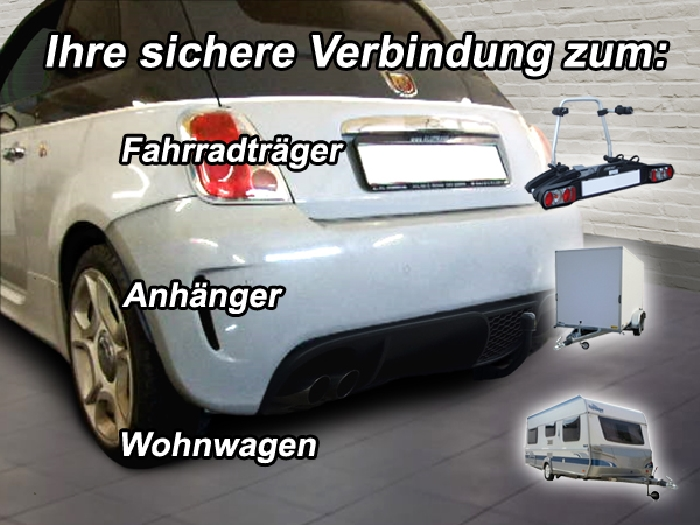Anhängerkupplung für Fiat-500 Abarth spez. Abarth 500, 595, Baureihe 2007-2016  vertikal
