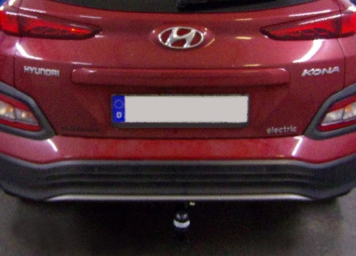Anhängerkupplung für Hyundai-Kona Elektro, mit Anhängelastfreigabe ab Werk, Fzg. mit E-satz Vorbereitung,, Baureihe 2018-  vertikal