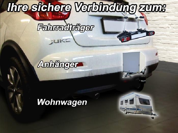 Anhängerkupplung Nissan Juke 2WD, nicht Nismo, Baureihe 2014-2019  vertikal